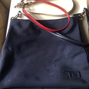 Tommy Hilfiger. Blue handbag/3 handles. Medium